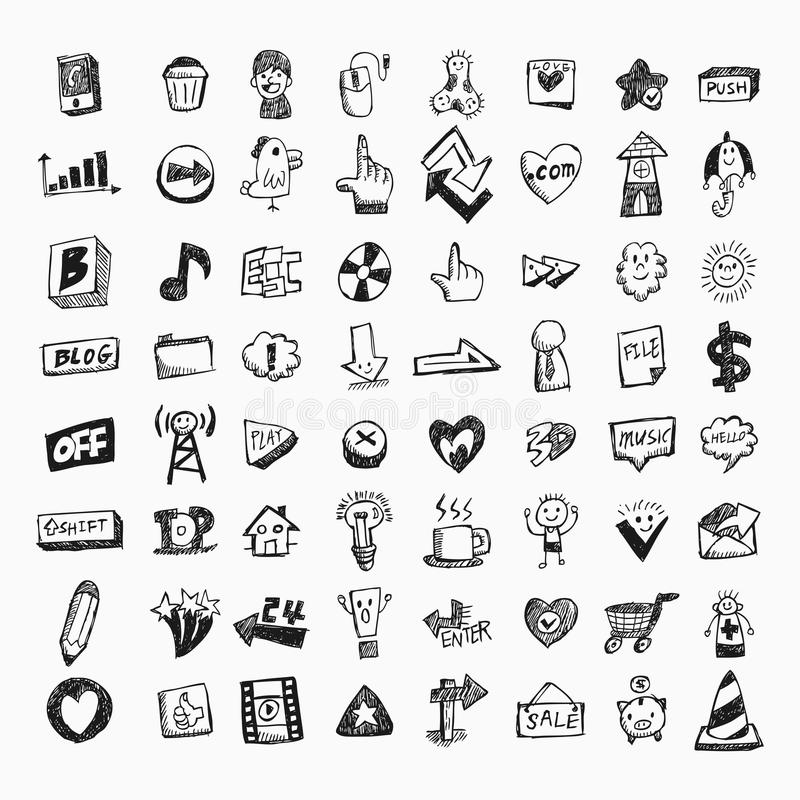 Download Doodle web icons stock vector. Image of home, icon, data - 22072537