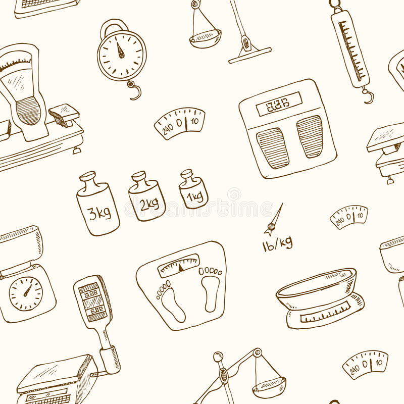 Doodle weighing machine seamless pattern vector. Doodle weighing machine seamless pattern Vintage illustration for identity, design, decoration, packages product stock illustration