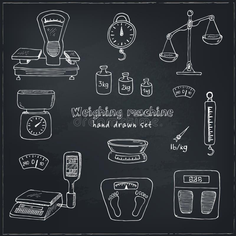 Doodle Weighing Machine Set Tools Vector Stock Vector