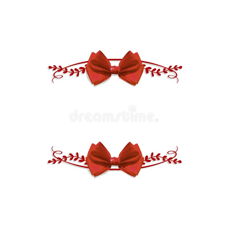 Doodle WEKTOROWA Kwiecista rama z Realistycznym łękiem, Czerwony kolor, puste miejsce rama ilustracji