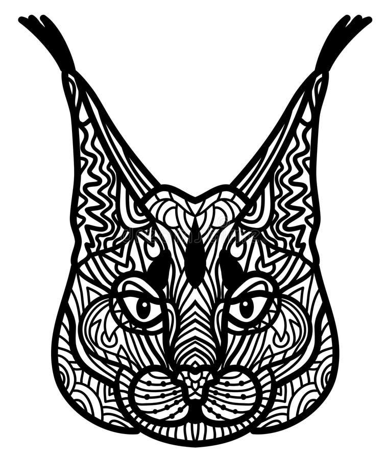 Doodle wektorowy rysunek preryjna ryś głowa robić w zen sztuki stylu Ilustracja odizolowywająca na biel Kostiumy jak tatuaż lub ilustracji
