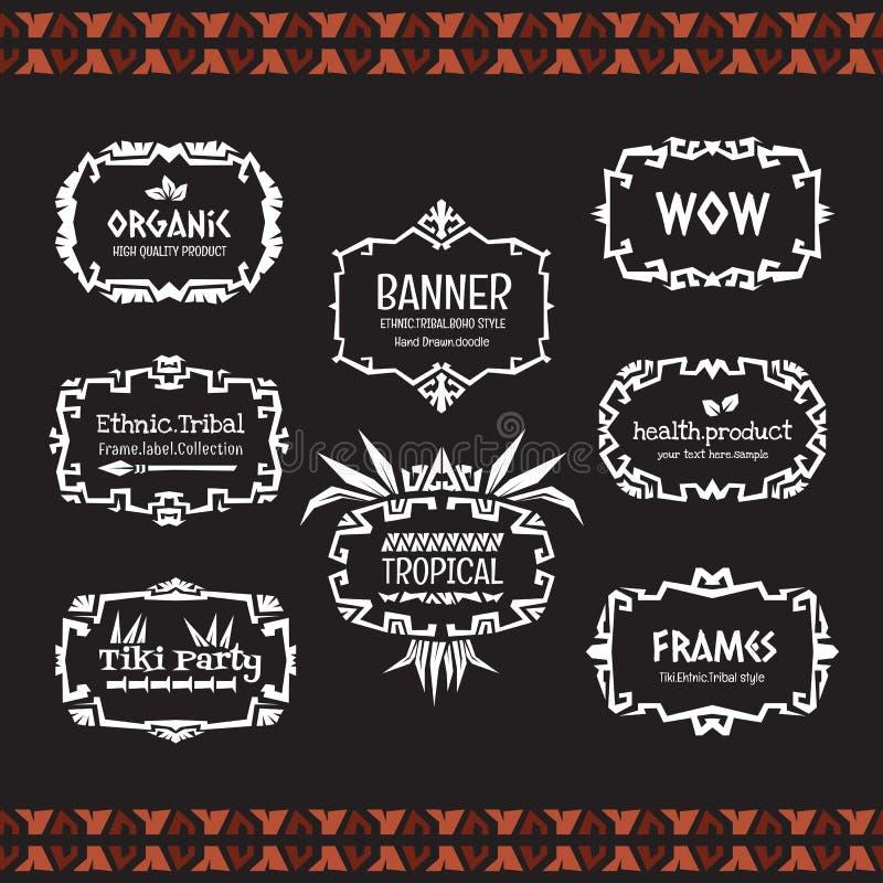 Doodle wektoru ramy inkasowy Etniczny plemienny styl royalty ilustracja