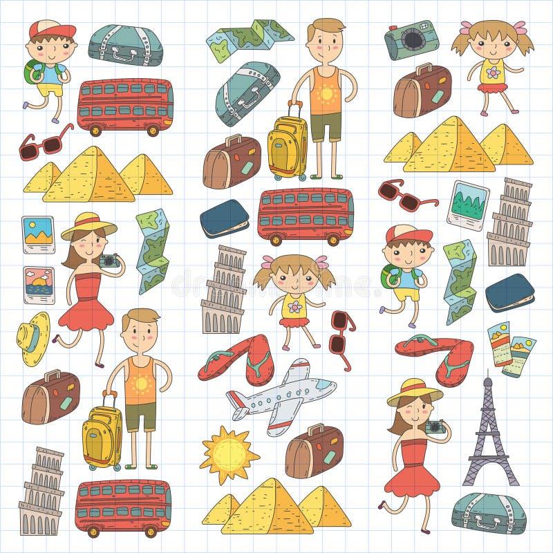Doodle wektoru ustalona podróż, wakacje, przygoda Dzieci z rodzicami Przygotowywa dla twój podróży Dzieciniec, szkoła royalty ilustracja