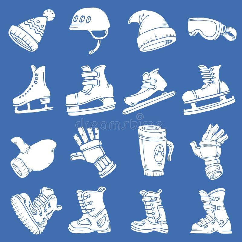 Doodle wektoru zimy odosobneni sporty ilustracja wektor