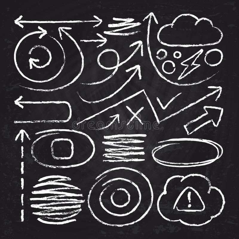 Free Doodle White Arrows And Chalk Design Stroke Scribble Elements. Sketch Circle, Line, Round Borders Vector Set Stock Image - 114522821