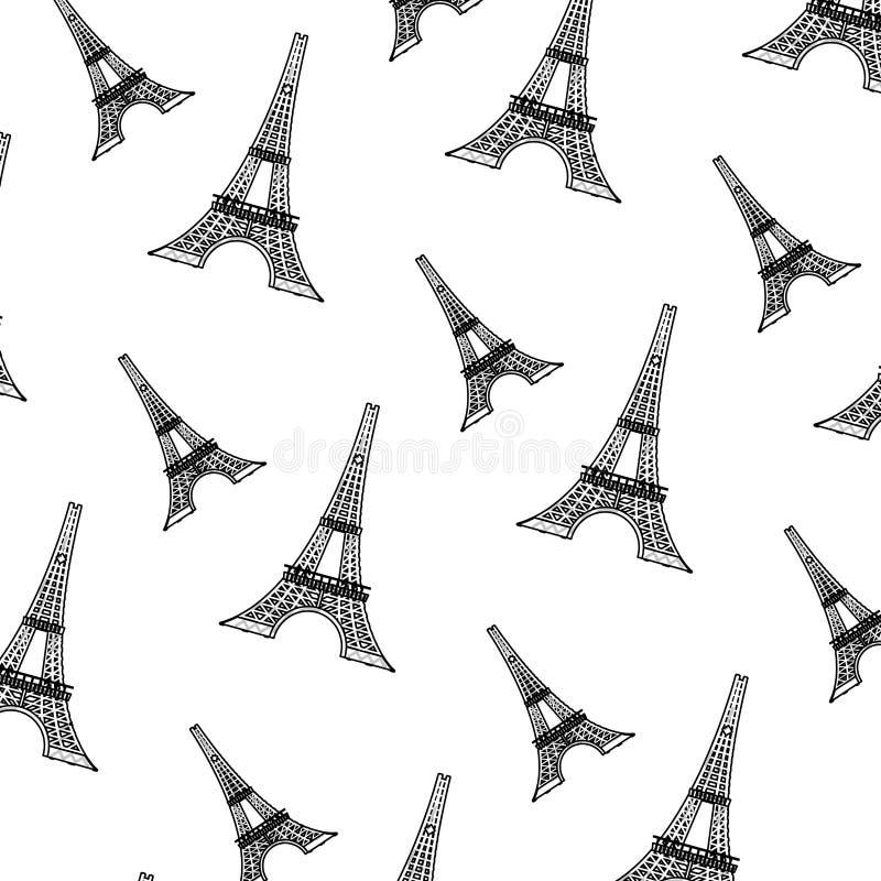 Doodle wieża eifla od Paris France tła ilustracja wektor