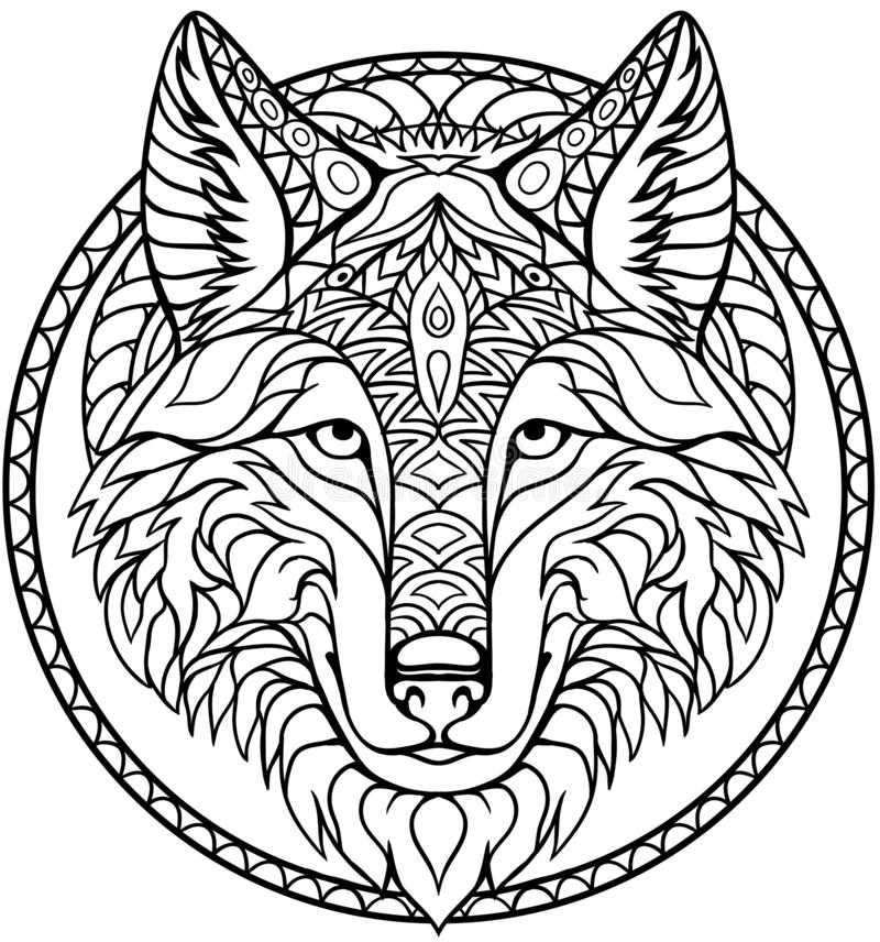 Doodle wolf coloring book outline drawing in vector stock illustration