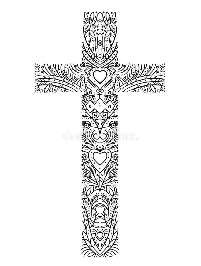 Doodle wystroju krzyża wirh słowa i serca grzeszą, Jezus, miłość ilustracji