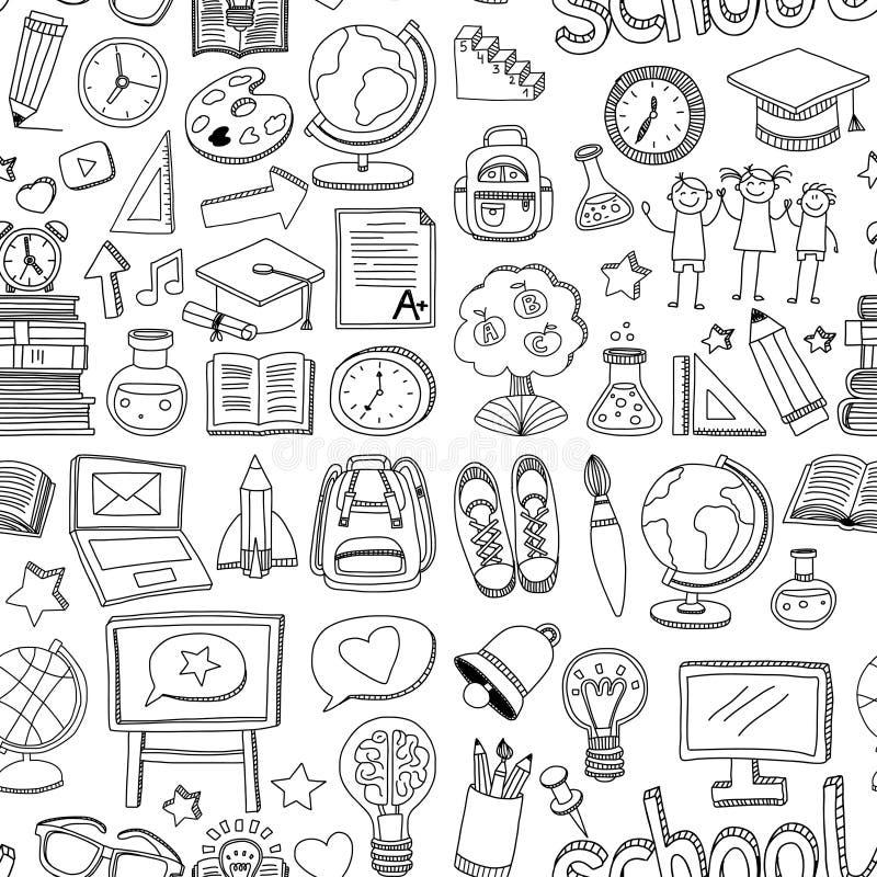 Doodle wzoru wektorowa bezszwowa szkoła i edukacja ilustracji