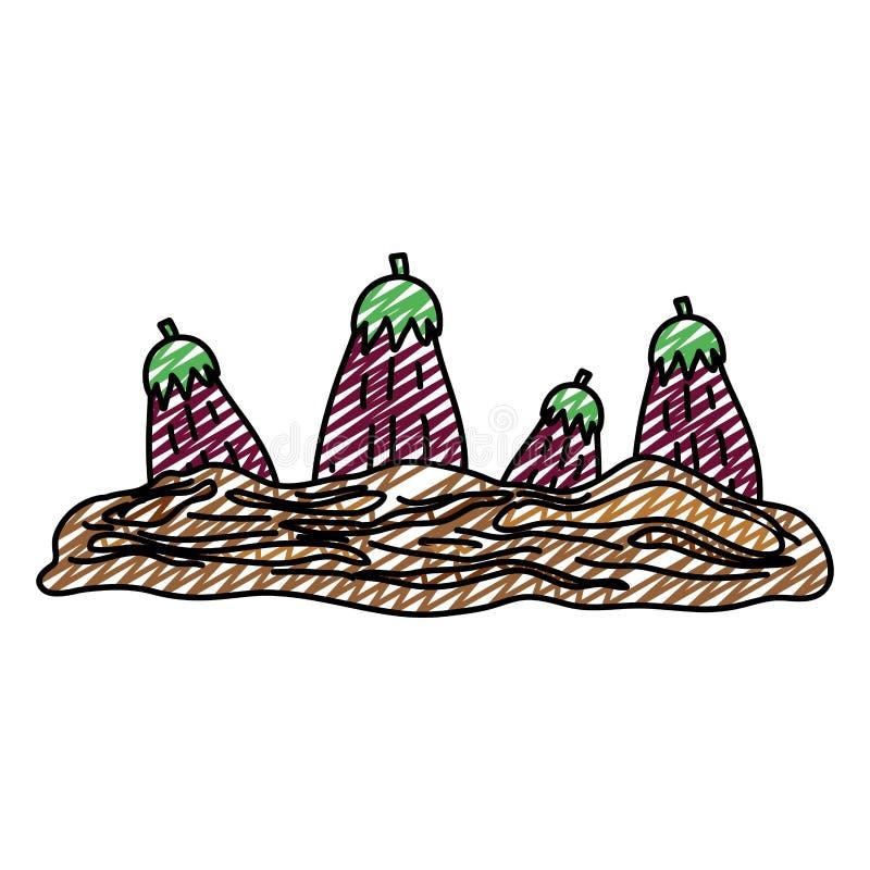 Doodle zdrowej oberżyny świeży warzywo kultywujący ilustracja wektor