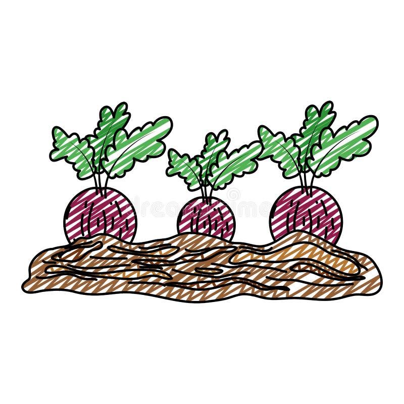 Doodle zdrowy cebulkowy świeży warzywo kultywujący ilustracji