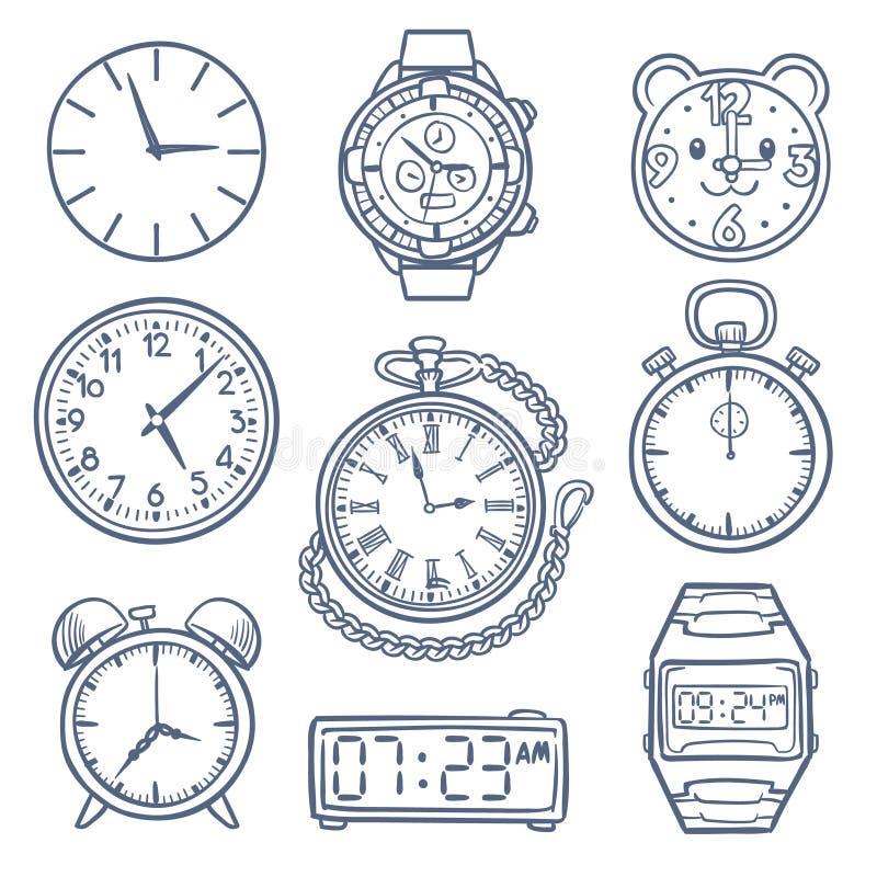 Doodle zegarek, zegarowe wektorowe ikony Ręki rysować czas wektorowe ikony odizolowywać royalty ilustracja