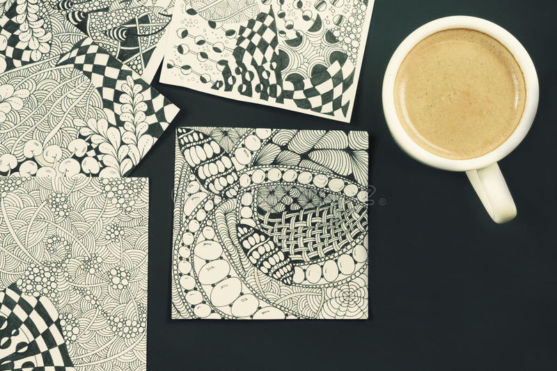 Doodle, zen tangle illustration. Zen art, doodle pattern for the beginners. Sketch illustrations, a pencil and a cup of coffee on. Doodle, zen tangle stock images