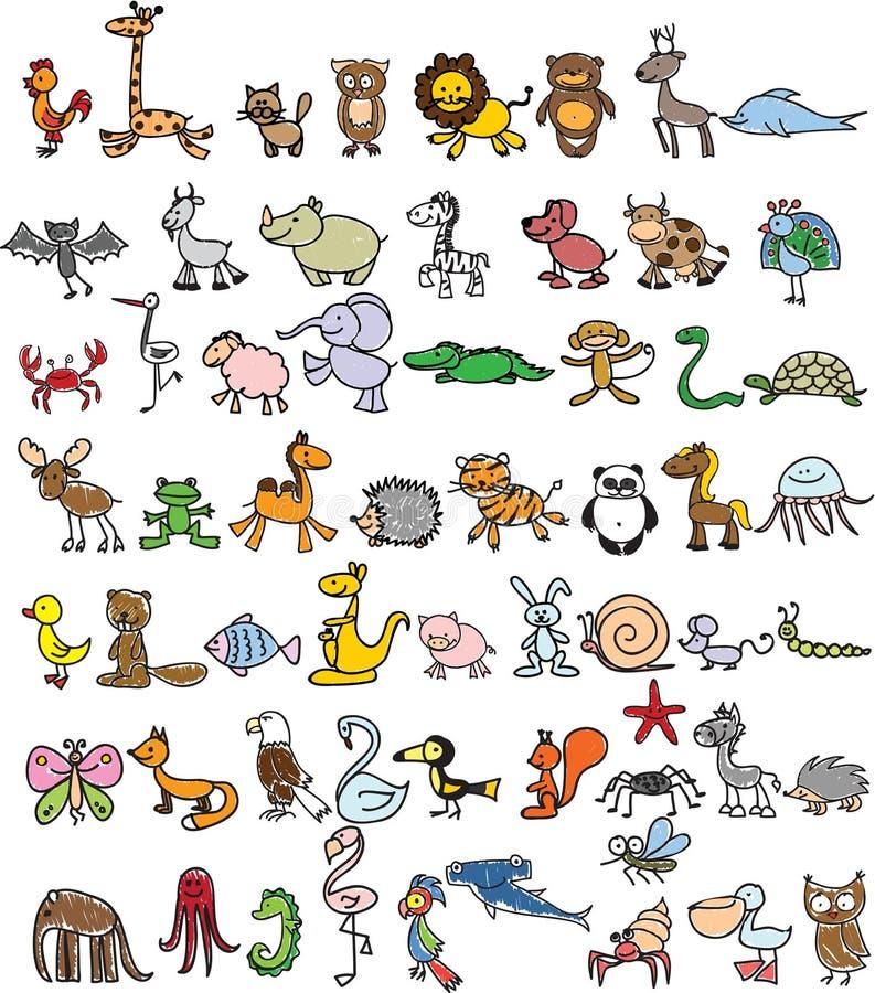 Doodle zwierzęta ilustracja wektor