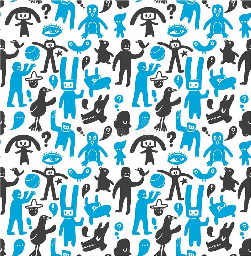 doodles αστείο πρότυπο άνευ ραφή&si απεικόνιση αποθεμάτων