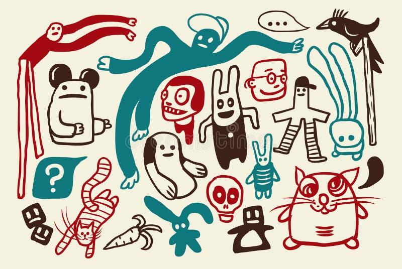doodles αστείο σύνολο διανυσματική απεικόνιση