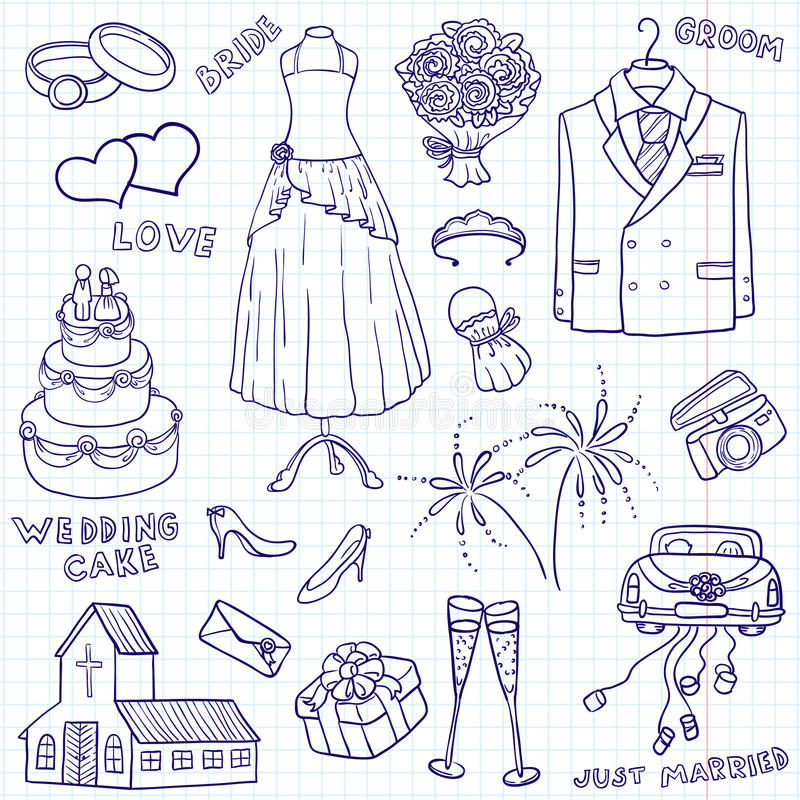 doodles γάμος ελεύθερη απεικόνιση δικαιώματος