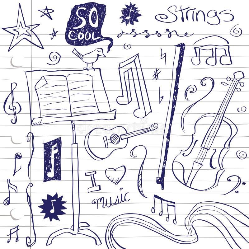 doodles συμβολοσειρά μουσι&kappa διανυσματική απεικόνιση