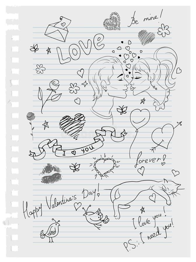 doodles συρμένη αγάπη χεριών ελεύθερη απεικόνιση δικαιώματος
