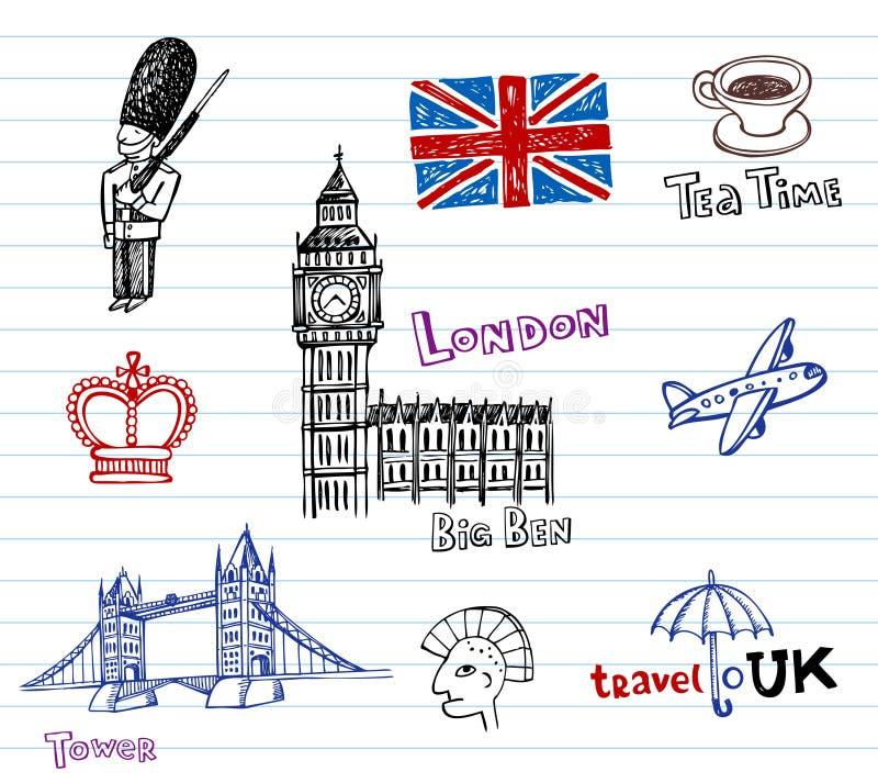 doodles συρμένο σκίτσο του Λονδίνου χεριών διανυσματική απεικόνιση