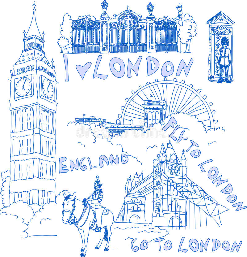 doodles σύνολο του Λονδίνου ελεύθερη απεικόνιση δικαιώματος