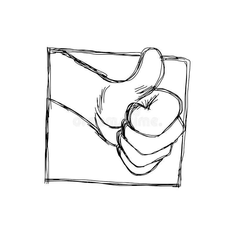 Doodles του αντίχειρα επάνω στο σύμβολο χεριών στο πλαίσιο διανυσματική απεικόνιση