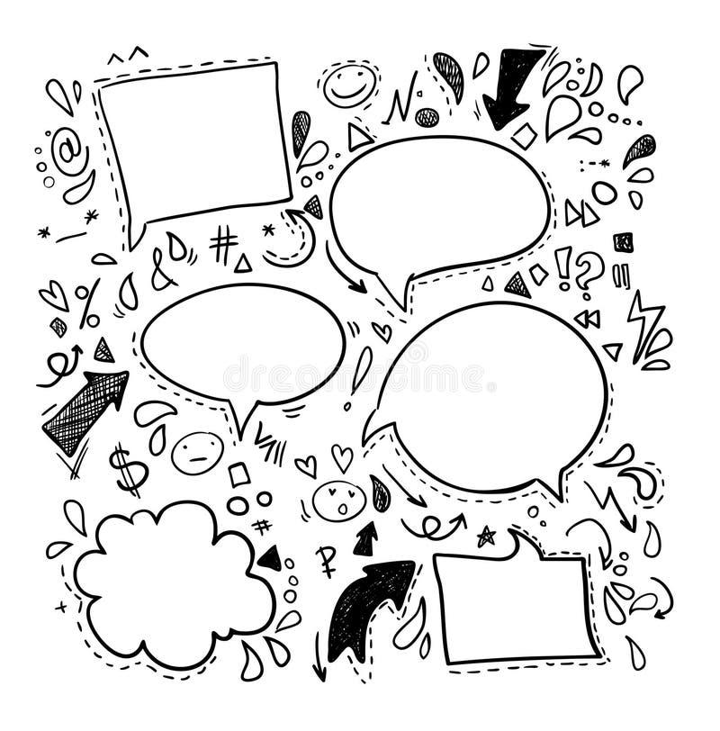 Doodles вектора - пузыри речи Дело, финансы и успех иллюстрация штока