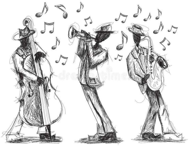 Doodles джаз-бэнда иллюстрация вектора