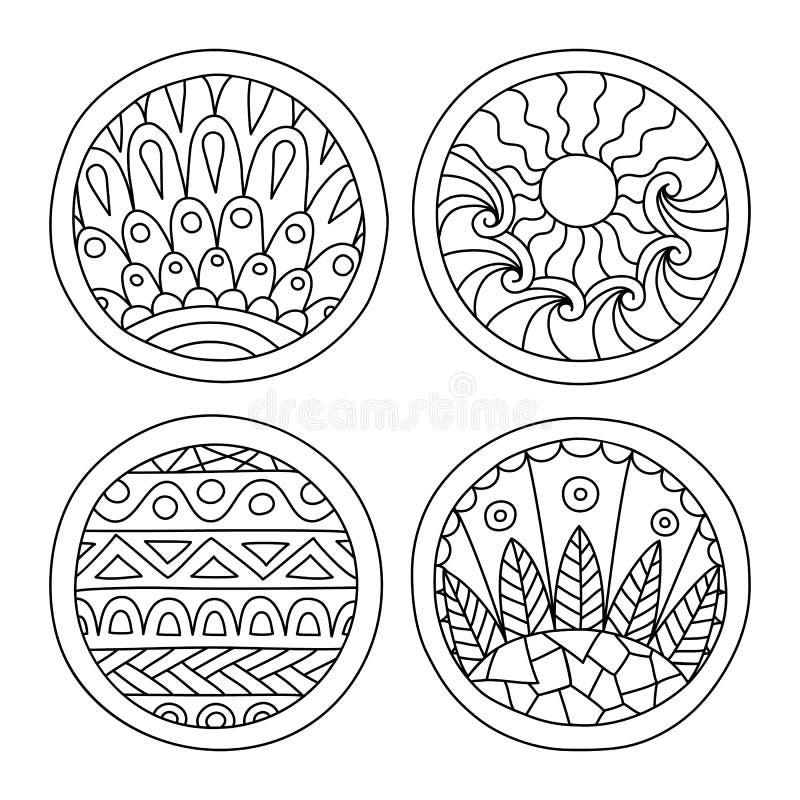 Doodles заполнили установленные круги иллюстрация вектора