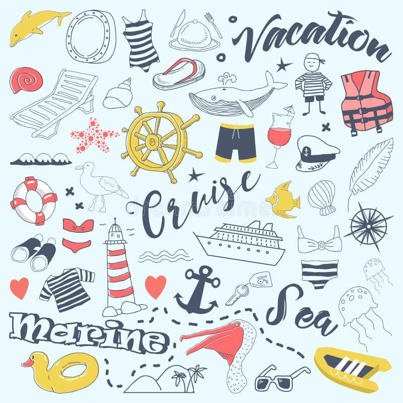 Doodles каникул пляжа Freehand с элементами круиза Комплект приключения лета нарисованный рукой иллюстрация штока