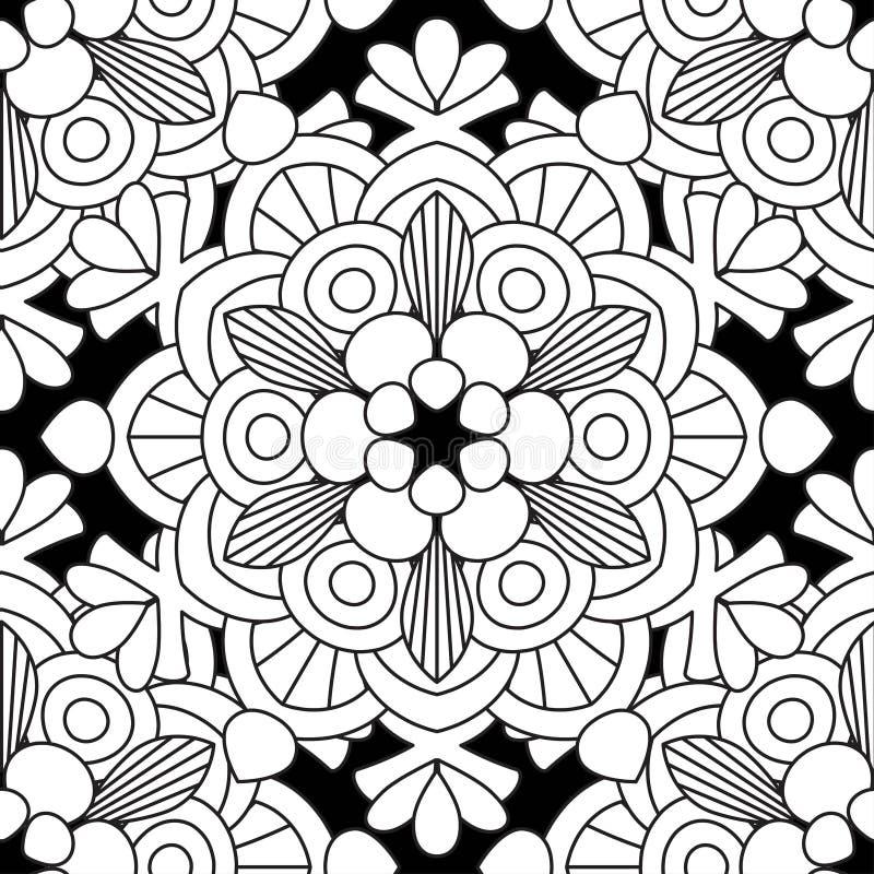 Doodles картина мандалы безшовная иллюстрация штока