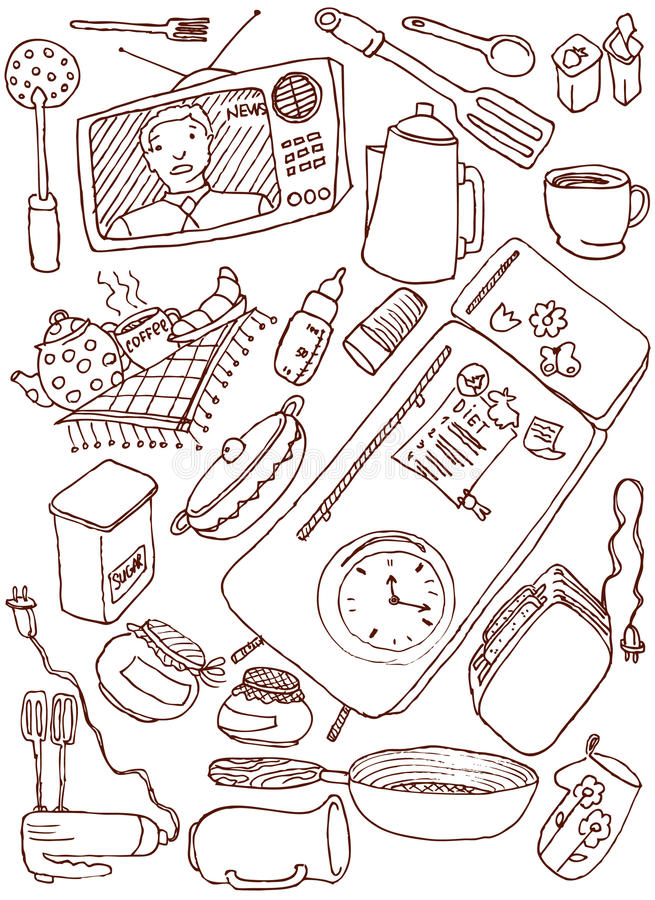doodles кухня иллюстрация вектора