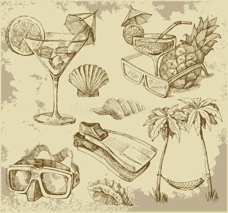 doodles лето салона иллюстрация штока