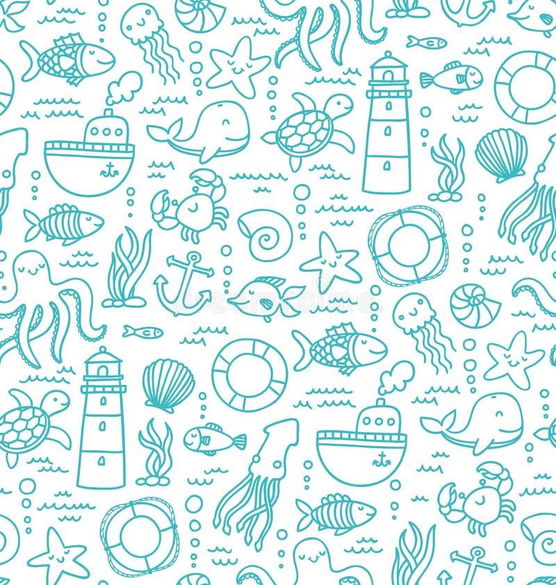 Doodles моря иллюстрация штока