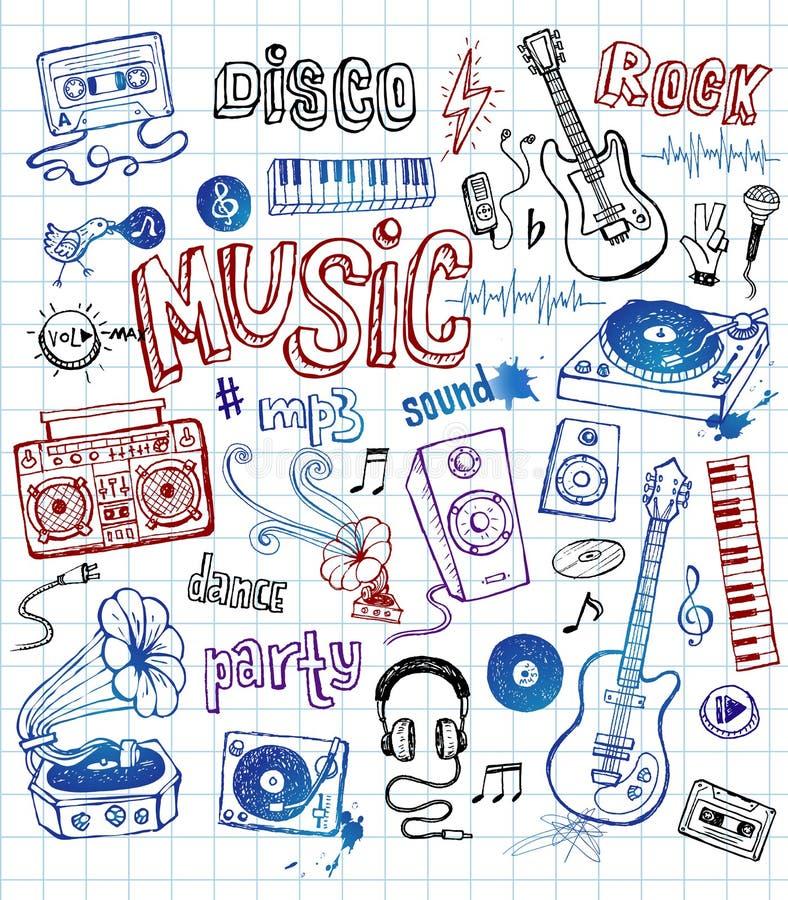Doodles музыки иллюстрация вектора