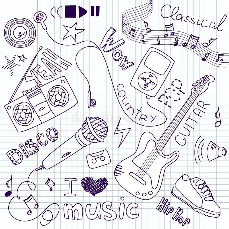 doodles нот иллюстрация вектора
