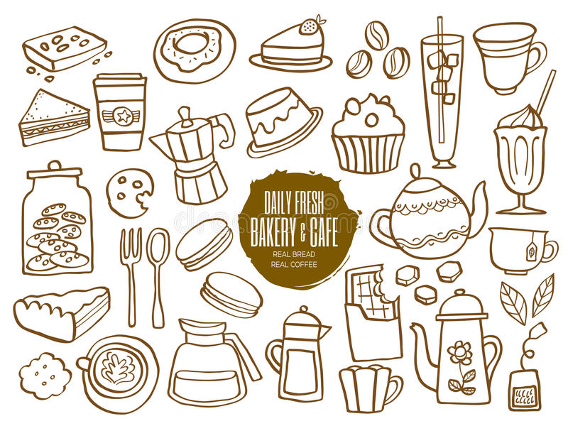 Doodles пить кофе кафа хлебопекарни помадок иллюстрация штока
