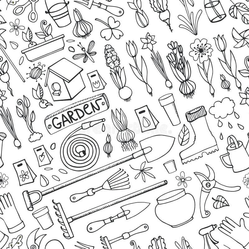 Doodles сада весны покрашенная картина безшовная линейно иллюстрация вектора