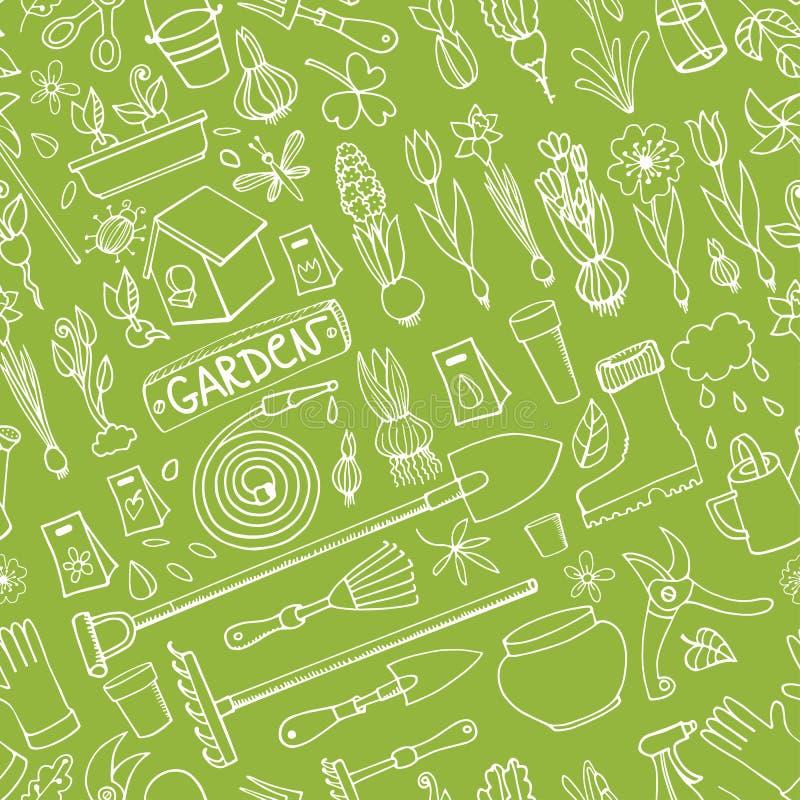 Doodles сада весны покрашенная картина безшовная линейно иллюстрация штока