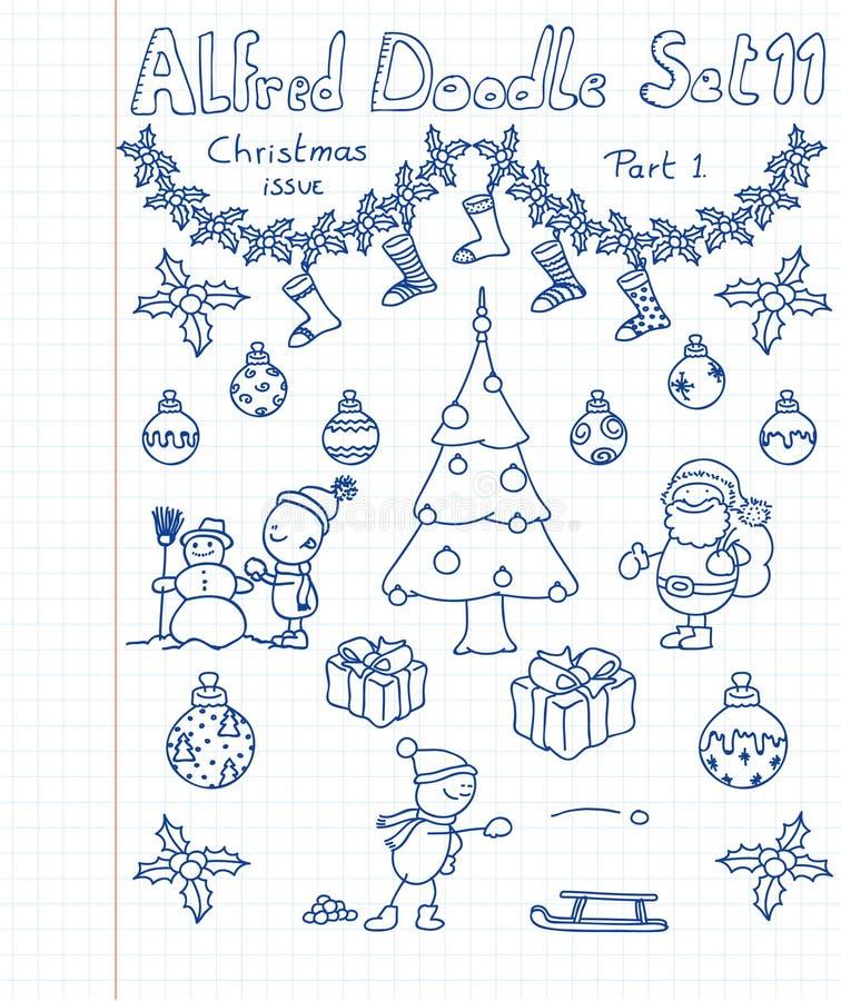 doodles собрания christmass бесплатная иллюстрация