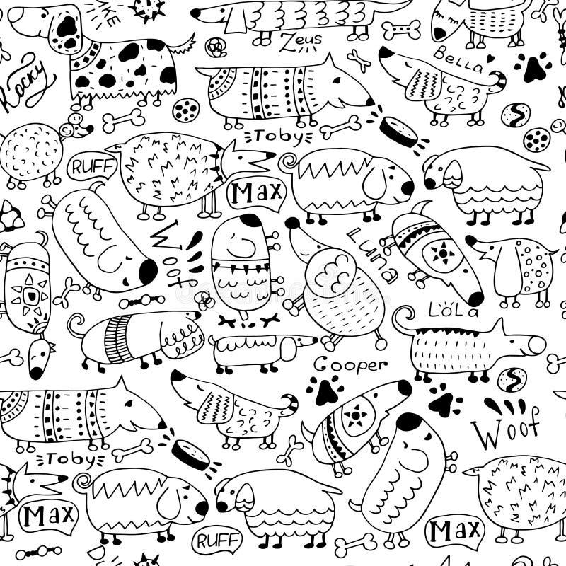 Doodles с милыми собаками Безшовная картина вектора в стиле Doodle иллюстрация штока