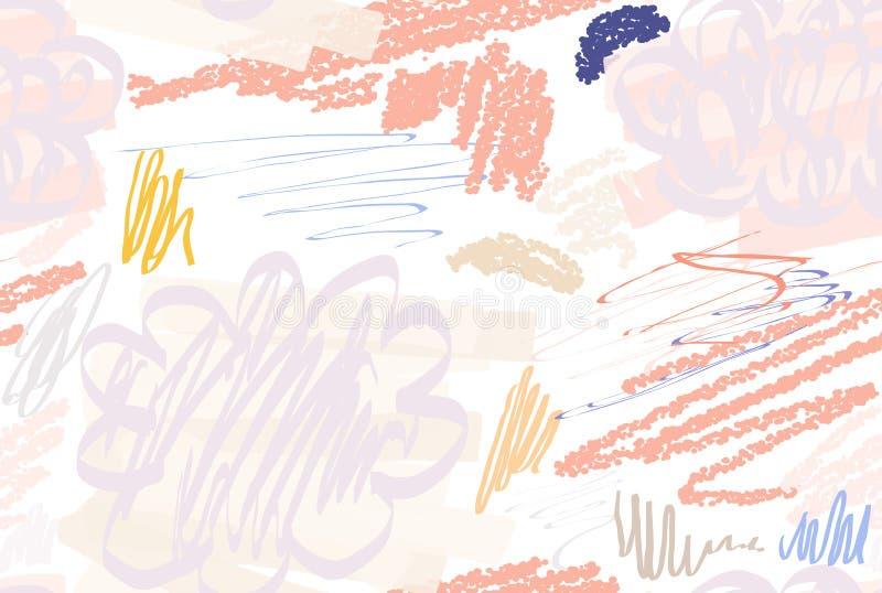 Doodles текстурированные Crayon с абстрактными облаками и щеткой отметки иллюстрация штока