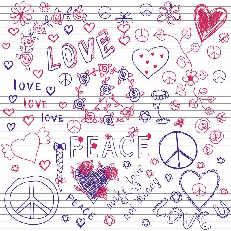 Doodles тетради влюбленности, мира & музыки схематичные иллюстрация штока