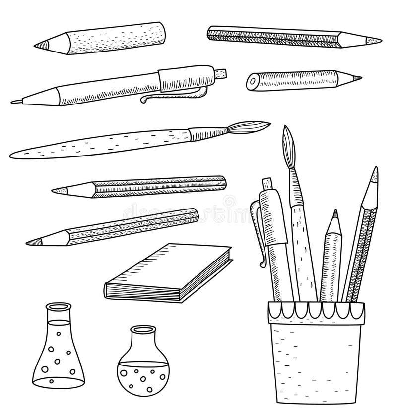 Doodles тетради школьных принадлежностей схематичные иллюстрация штока