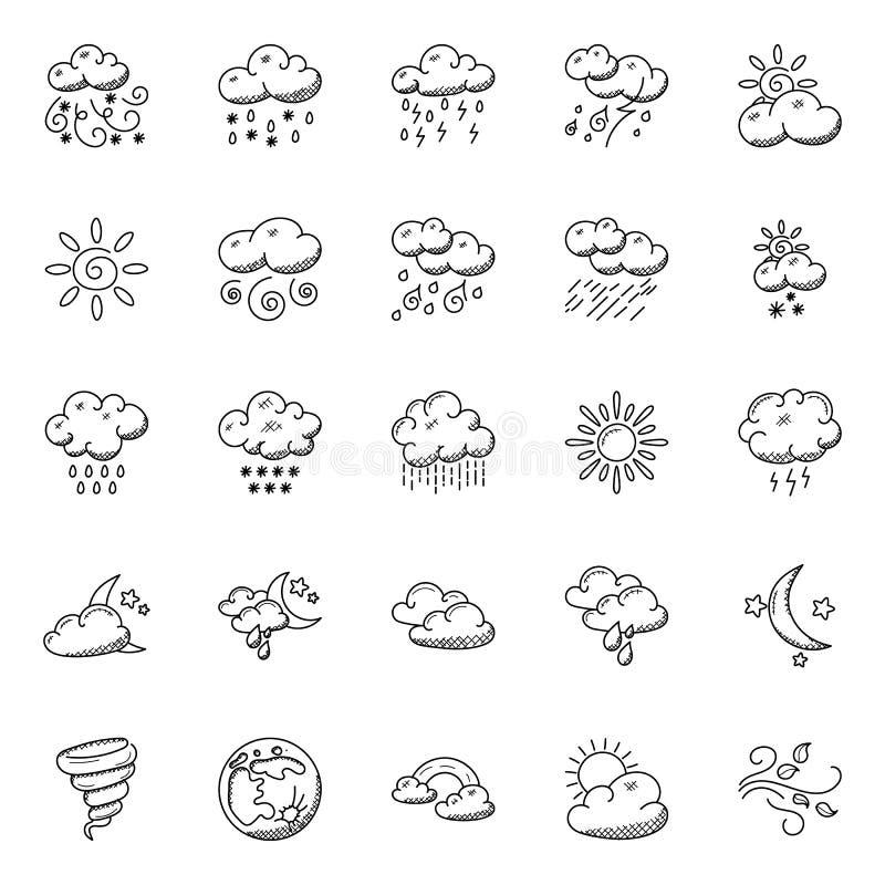 Doodles установленные погоды иллюстрация штока