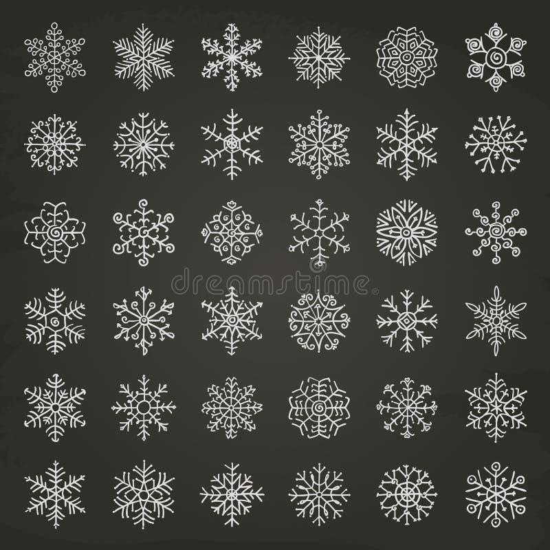 Doodles хлопьев снега зимы иллюстрация штока