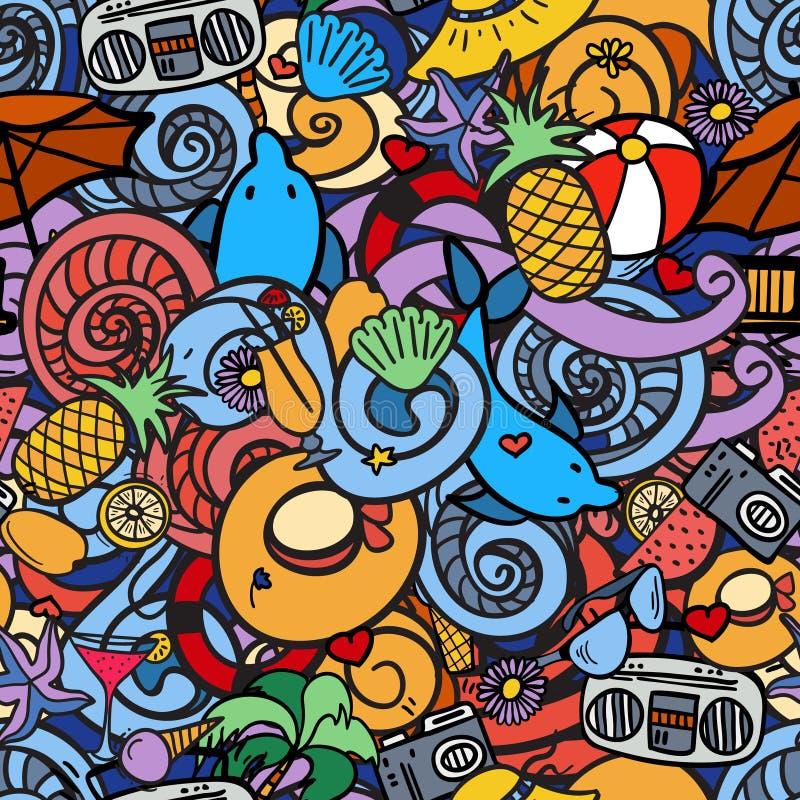 Doodles шаржа нарисованные вручную на предмете картины темы летних отпусков безшовной бесплатная иллюстрация