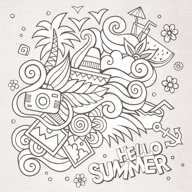 Free Doodles Abstract Decorative Summer Sketch Royalty Free Stock Photos - 54579528
