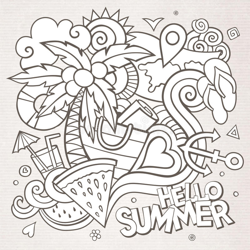 Free Doodles Abstract Decorative Summer Sketch Royalty Free Stock Photography - 54579637