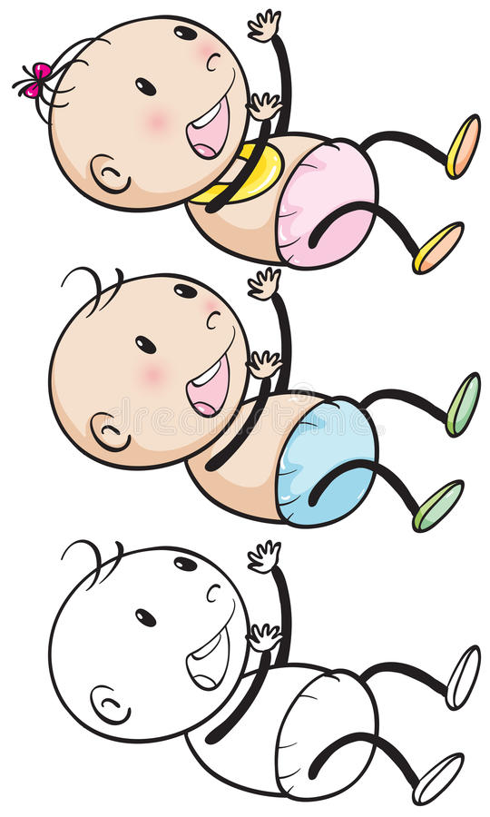 Doodles baby boy and girl vector illustration